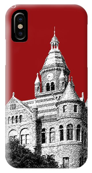 Dallas Skyline Old Red Courthouse - Dark Red IPhone Case