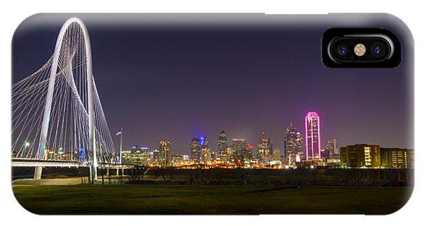 Dallas Skyline And Margaret Hunt Hill Bridge IPhone Case