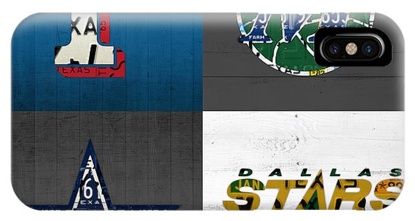 Dallas Sports Fan Recycled Vintage Texas License Plate Art Rangers Mavericks Cowboys Stars IPhone Case