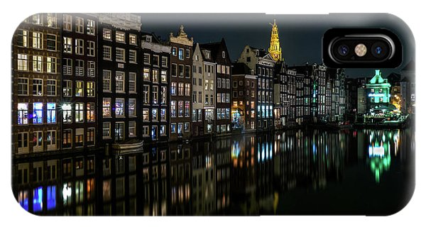 Night iPhone Case - Damrak, Amsterdam by Sus Bogaerts
