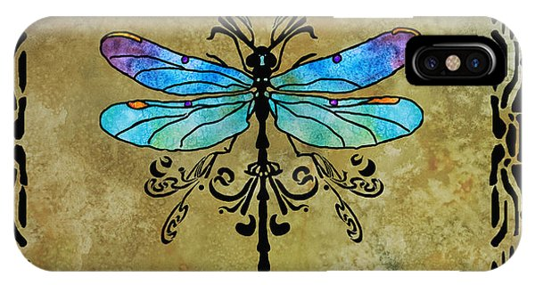 Dragon iPhone Case - Damselfly Nouveau by Jenny Armitage