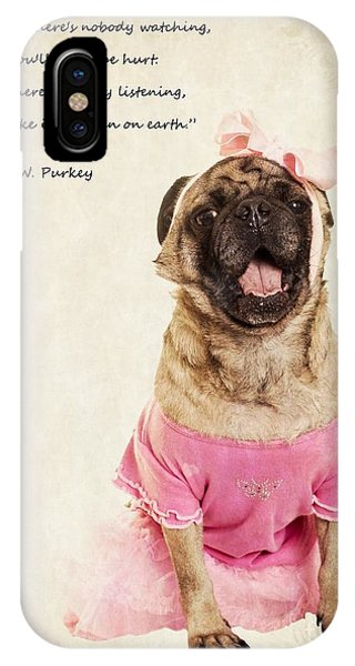Pug iPhone X Case - Dance Like There's Nobody Watching by Edward Fielding