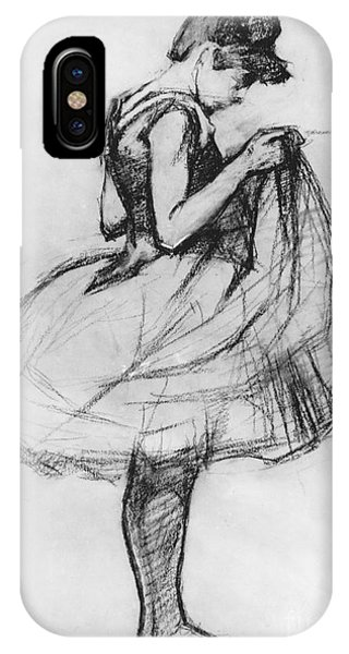 Dance iPhone Case - Dancer Adjusting Her Costume And Hitching Up Her Skirt by Henri de Toulouse-Lautrec