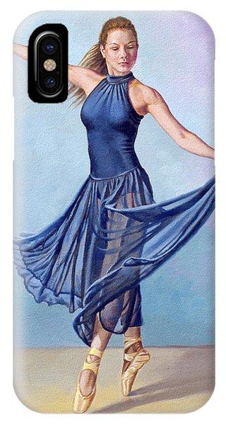 Dark Blue iPhone Case - Dancer In Dark Blue by Paul Krapf