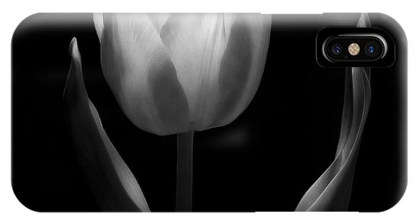 Black Tulip iPhone X Case - Abstract Black And White Tulips Flowers Art Work Photography by Artecco Fine Art Photography