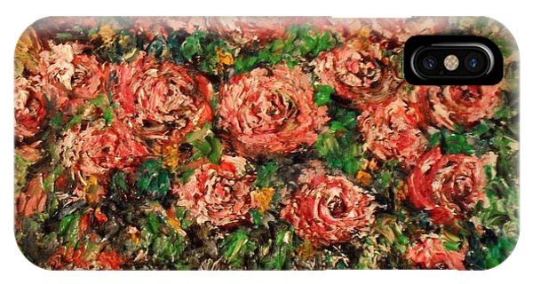 IPhone Case featuring the painting Dancing Red Roses by Laurie Lundquist
