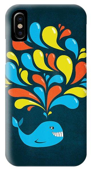 Dark Colorful Splash Happy Cartoon Whale IPhone Case