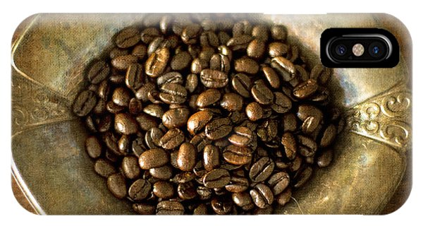 Dark Roast Coffee Beans And Antique Silver IPhone Case