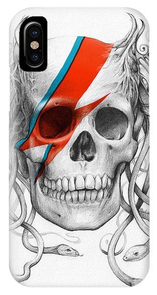 Skull iPhone Case - David Bowie Aladdin Sane Medusa Skull by Olga Shvartsur
