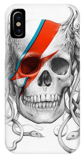 Illustration iPhone Case - David Bowie Aladdin Sane Medusa Skull by Olga Shvartsur