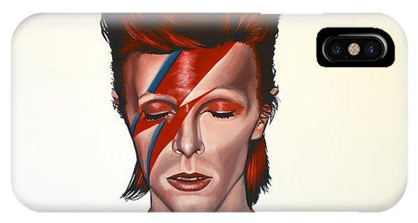 Geometric iPhone X Case - David Bowie Aladdin Sane by Paul Meijering