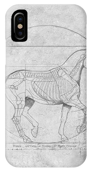 Da Vinci Horse Piaffe Grayscale IPhone Case