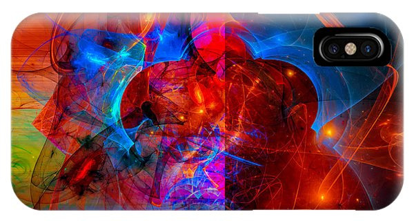Colorful Digital Abstract Art - Day And Night IPhone Case