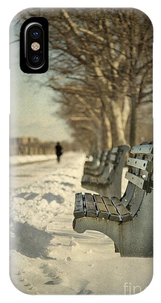 Park Bench iPhone Case - Days Of Cold Chills by Evelina Kremsdorf