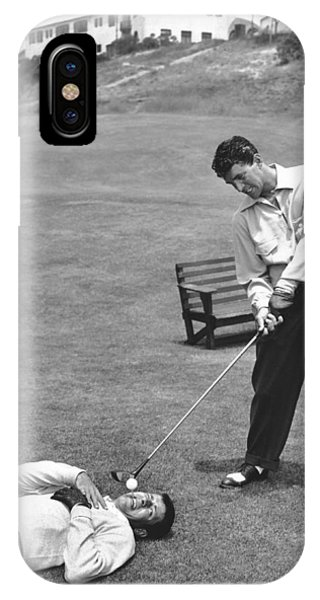 Martin iPhone Case - Dean Martin & Jerry Lewis Golf by Underwood Archives