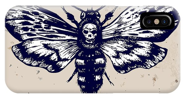 Engraving iPhone Case - Deaths-head Hawkmoth. Hand Drawn Vector by Inna Sinano