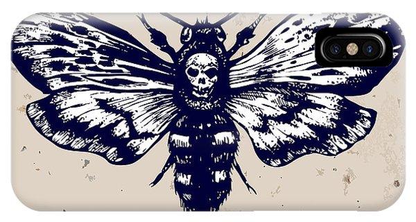 Moth iPhone Case - Deaths-head Hawkmoth. Hand Drawn Vector by Inna Sinano