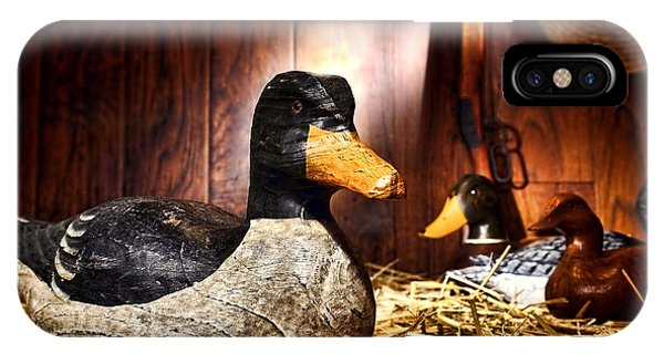 Wood Ducks iPhone Case - Decoy In Old Hunting Barn by Olivier Le Queinec
