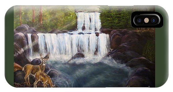 A Tall Drink Of Water For A Pair Of White Tailed Deer In The Great Smoky Mountains IPhone Case