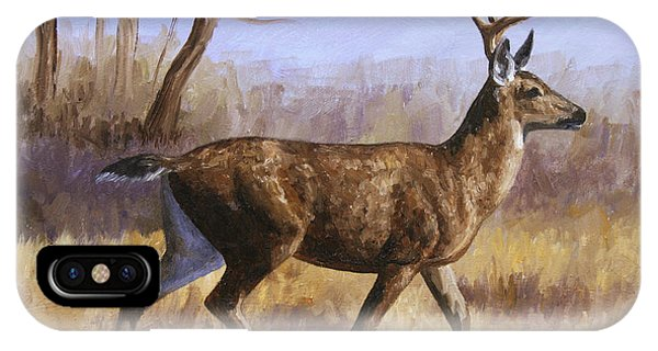 Mule Deer iPhone Case - Deer Painting - Trotting Buck by Crista Forest