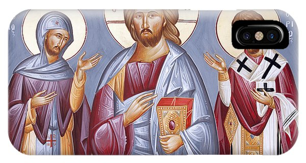 Deisis Jesus Christ St Anastasios And St Eleftherios IPhone Case