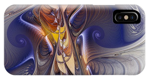 Fractal Landscape iPhone Case - Delicate Spiral Duo In Blue by Karin Kuhlmann