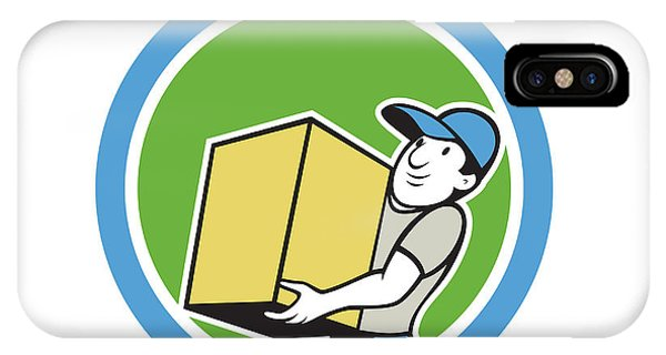 Delivery Worker Carrying Package Cartoon Phone Case by Aloysius Patrimonio