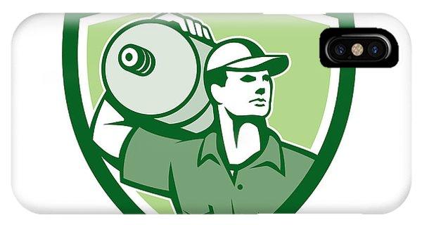 Delivery Worker Water Jug Shield Retro Phone Case by Aloysius Patrimonio