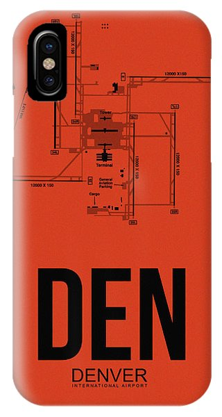 Travel iPhone Case - Denver Airport Poster 2 by Naxart Studio