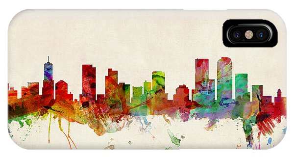 Skyline iPhone Case - Denver Colorado Skyline by Michael Tompsett