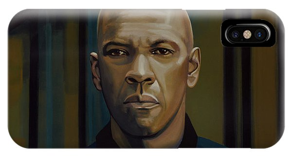 Inside iPhone Case - Denzel Washington In The Equalizer Painting by Paul Meijering