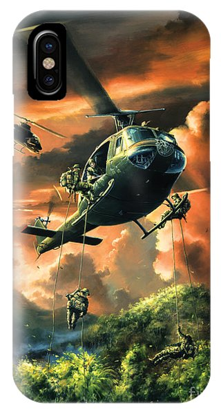 Helicopter iPhone X Case - Descent Into The A Shau Valley by Randy Green
