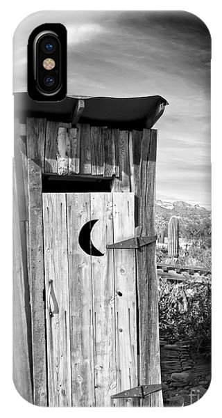 Desert Outhouse Under Stormy Skies IPhone Case