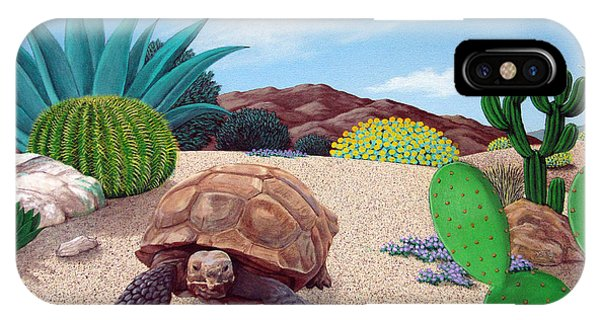 Turtle iPhone X Case - Desert Tortoise by Snake Jagger