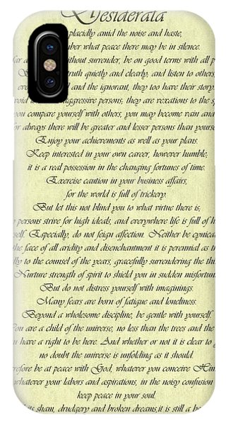 Desiderata Gold Bond Scrolled IPhone Case