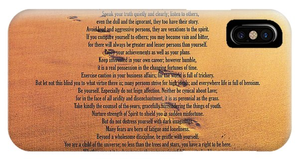 Bar Mitzvah iPhone Case - Desiderata Poem On Footprints Typography Art by Desiderata Gallery