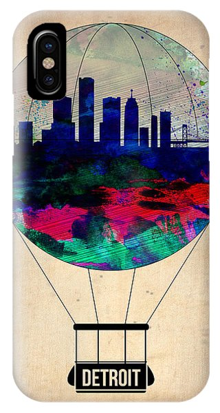 City Scenes iPhone Case - Detroit Air Balloon by Naxart Studio