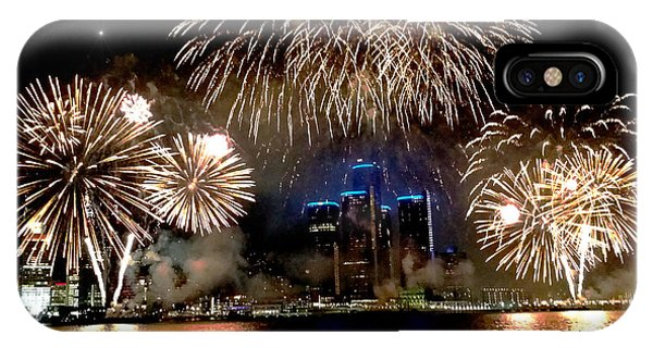 Detroit Fireworks Phone Case by Michael Rucker