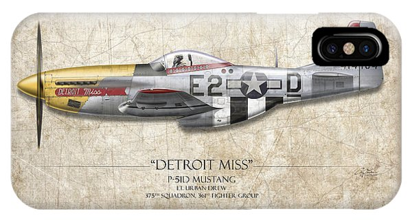 Detroit Miss P-51d Mustang - Map Background IPhone Case