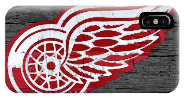 Detroit Red Wings Recycled Vintage Michigan License Plate Fan Art On Distressed Wood IPhone Case