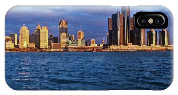 Renaissance Center iPhone Case - Detroit Skyline At Sunrise by Panoramic Images