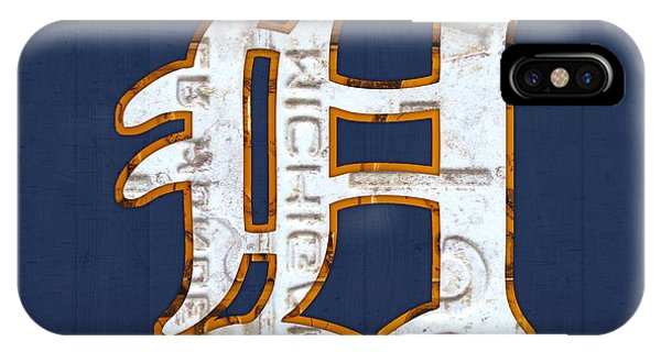 Tiger iPhone Case - Detroit Tigers Baseball Old English D Logo License Plate Art by Design Turnpike
