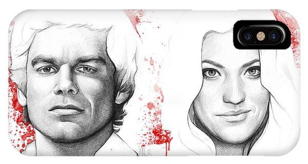 Pencil iPhone Case - Dexter And Debra Morgan by Olga Shvartsur