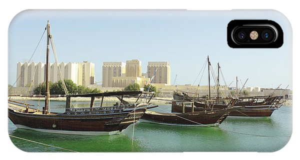 Dhows And Doha Port Buildings IPhone Case