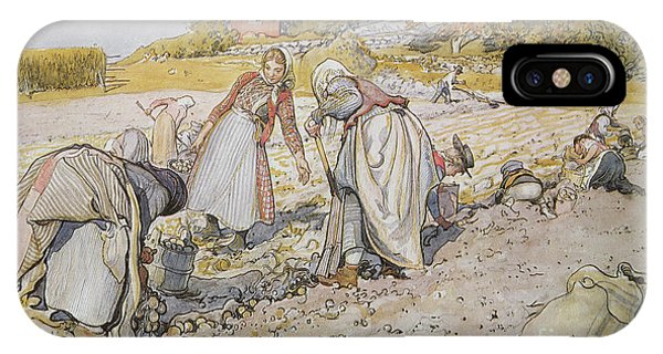 Plowing iPhone Case - Digging Potatoes by Carl Larsson