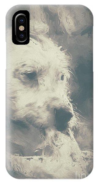 Digital Oil Painting Of A Cute Scruffy Dog  IPhone Case