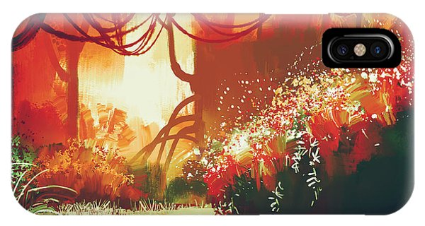 Orange Color iPhone Case - Digital Painting Of Fantasy Autumn by Tithi Luadthong
