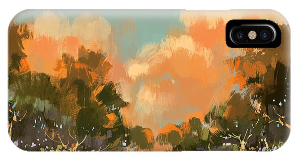Fall Colors iPhone Case - Digital Painting Of The Colorful Path by Tithi Luadthong