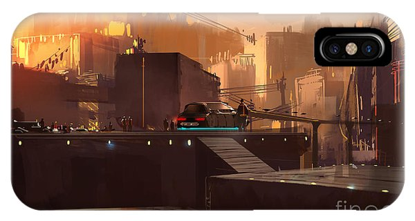 Futuristic iPhone Case - Digital Painting Showing Futuristic by Tithi Luadthong