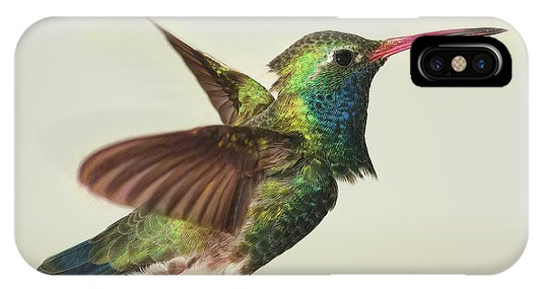 Digitially Modified Broadbilled Hummingbird IPhone Case